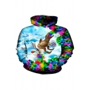 Mens Funny 3D Dinosaur Pattern Colorful Long Sleeve Pullover Hoodie