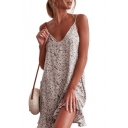 Elegant Floral Printed Spaghetti Straps Sleeveless Ruffle Hem Mini Slip Dress