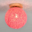 Hand Knitted Globe Semi Flush mount Hallway Modern Simple Single Bulb Ceiling Light in Multiple Colors