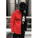 Fashion Embroidery Letter Clown Printed Long Sleeve Red and Black Unisex Sport Loose Casual Hoodie