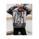Guys Street Hip Hop Style Letter Printed Long Sleeve Loose Casual Pullover Hoodie
