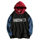 Mens Fashion Letter HABBINFSS Printed Color Block Casual Long Sleeve Pullover Hoodie
