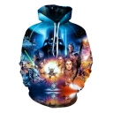 Trendy 3D Character Pattern Long Sleeve Pullover Sport Casual Blue Hoodie