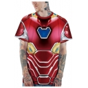 New Trendy Unisex 3D Printed Cosplay Costume Short Sleeve Red T-Shirt