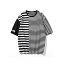New Fashion Striped Letter Print Half Sleeve Round Neck Mens Loose Casual Tee