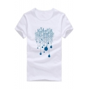 Simple Bulb Printed Round Neck Short Sleeve Mens Leisure Tee