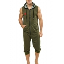 Popular Simple Star Printed Camo Hooded Zip Front Casual Lounge Green Rompers Jumpsuits for Men