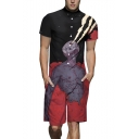 Mens Street Fashion Fire Skull 3D Printed Short Sleeve Button-Front Fitted Black Shirt Rompers
