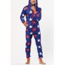 Men's Stylish Allover Star Printed Drawstring Hooded Long Sleeve Zip Up Blue Lounge Jumpsuits