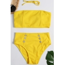 Plain Sleeveless Top with Button Front High Waist Bottom Bikini Swimwear