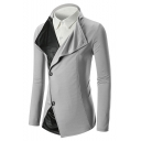 Mens New Stylish Lapel Collar Double Buttons PU Patched Slim Fit Blazer Coat