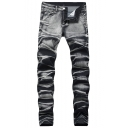 Mens New Stylish Vintage Washed Stretch Skinny Fit Grey Jeans