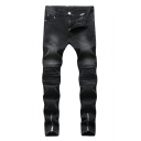 Guys New Stylish Zip Cuff Pleated Knee Patched Stretch Slim Fit Black Ripped Jeans Biker Jeans