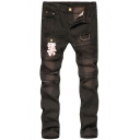 Hip Hop Style Pocket Pleated Patchwork Slim Fit Ripped Jeans for Mens