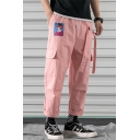 Mens Street Fashion Figure Letter Printed Tied Patched Rolled Cuff Casual Loose Straight Cargo Pants