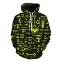Cool Unique Green Heart Line Printed Loose Casual Black Hoodie