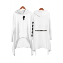 Funny Figure Pattern Long Sleeve Dipped Hem Casual Loose Asymmetrical Hooded Dress