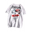 Hip Hop Street Fashion PEACE LOVE Letter Casual Relaxed T-Shirt