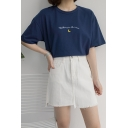Women's Stylish Letter Moon Embroidered Round Neck Short Sleeve Casual T-Shirt