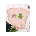 Lovely Hedgehog Cactus Printed Round Neck Short Sleeve Casual Cotton T-Shirt