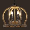 Crown Shape 6 Light Rope LED Chandelier