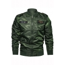Mens New Stylish Logo Badge Patched Stand Collar Long Sleeve Zip Up Military Field Jacket Bomber Jacket