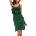 Women's Round Neck Short Sleeve Simple Plain Split Side Mini A-Line T-Shirt Dress