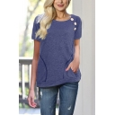 Women's Fashionable Plain Round Neck Short Sleeve Pockets Buttons Patched Casual T-Shirt