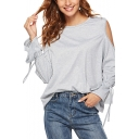 Women's Plain Cold Shoulder Long Flared Sleeve Grey Casual T-Shirt
