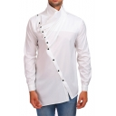 Fashionable Solid High Neck Mens Irregular Fold Button Front Long Sleeves Shirt