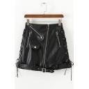 Cool Black Tied Side Buckle Zipper Embellish High Waist Biker PU Mini Skirt
