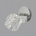 Clear Crystal Cup Shade Wall Mount Light One-Light Modern Style Sconce Lighting for Bathroom