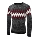 Mens Fashion Geometric Rhombus Printed Round Neck Marled Sweater