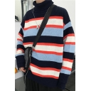 Stylish Colorblocked Striped Turtleneck Bilayer Sleeve Loose Fit Pullover Sweater
