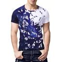 Summer Trendy Galaxy Bird Printed Mens Slim Fit Blue T-Shirt