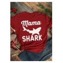Unisex Fashion Letter Shark Printed Short Sleeve Loose Fit Red T-Shirt