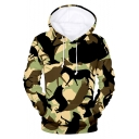 Fashion 3D Camouflage Animals Printed Long Sleeve Light Green Casual Unisex Hoodie