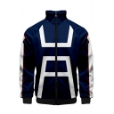 Cosplay Costume 3D Print Stand Collar Zip Up Blue Jacket