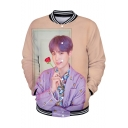 Popular Boy Band Fashion Rib Stand Collar Long Sleeve 3D Figure Print Button Down Baseball Jacket
