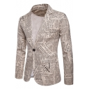 Retro Newspaper Printed Long Sleeve Single Button Notch Lapel Khaki Blazer for Men