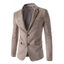 New Trendy Plain Button Front Notch Lapel Split Back Long Sleeve Mens Suede Blazer Coat