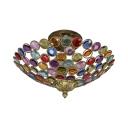 Bowl Restaurant Ceiling Light with Colorful Crystal 3/5 Bulbs Semi Flush Light in Bronze/Brass/White