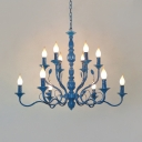 Blue Open Bulb Hanging Light with Candle Multi Light Traditional Metal Chandelier Light