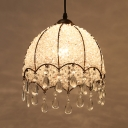 Single Light Domed Shape Pendant Lamp Antique Clear/Pink Crystal Pendant Lighting for Living Room