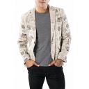 Allover Paris Tower Printed Long Sleeve Peak Lapel Single Button Khaki Suit Blazer for Men