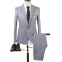 Fashionable Peak Lapel Single Button Long Sleeve Mens Plain Business Two Piece Suit Set