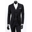 Mens Plain Long Sleeve Notched Lapel Single Breasted Slim Fit Wedding Dress Three-Piece Suit