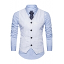 Vertical Stripes Printed Single Breasted Belt Back Mens Suit Vest