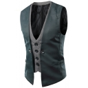 Men's Trendy Plaid Printed Inside Button Front Slim Fit Fake Two-Piece Suit Vest