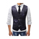 Vintage Floral Pattern Single Breasted Buckle Back Purple Slim Fit Suit Vest for Men